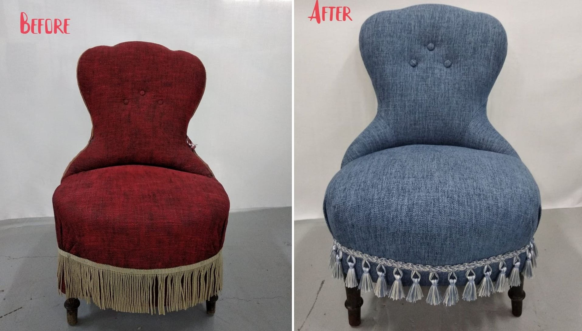 Upholstered chairs before & after