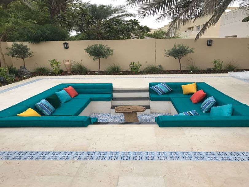 Sunken seating cushions in outdoor fabric at Evershine Dubai, UAE