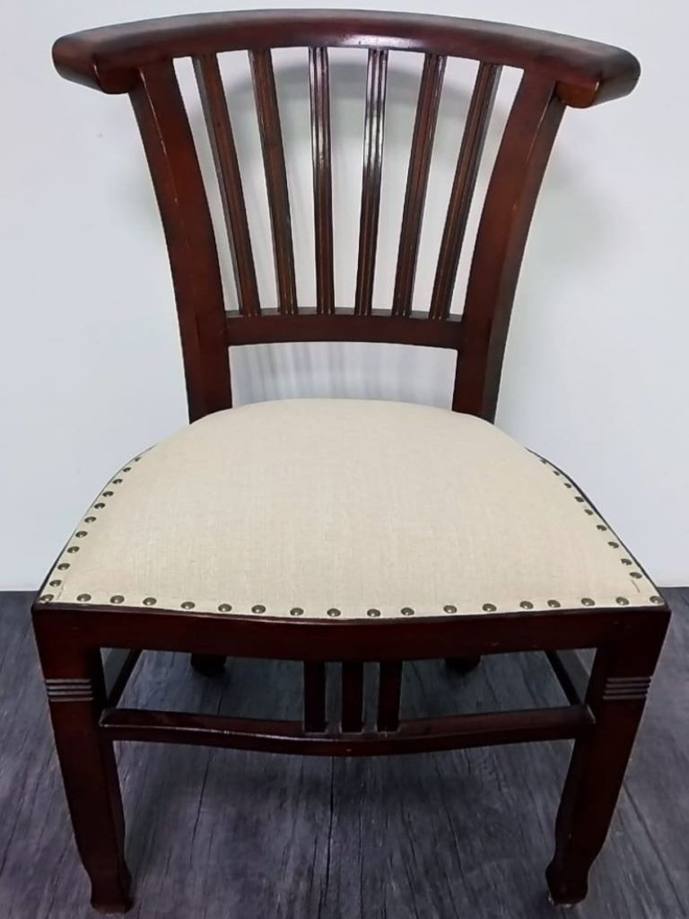 Dining chair seat upholstery with decorative nail